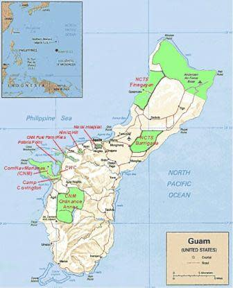 Map of Guam, an unincorporated territory of the United States. Green portions of the map represent the military bases. With added military personnel, infrastructure issues will be magnified. Photo Credit: http://www.public.navy.mil/fcc-c10f/nctsguam/PublishingImages/Guam_Map.bmp