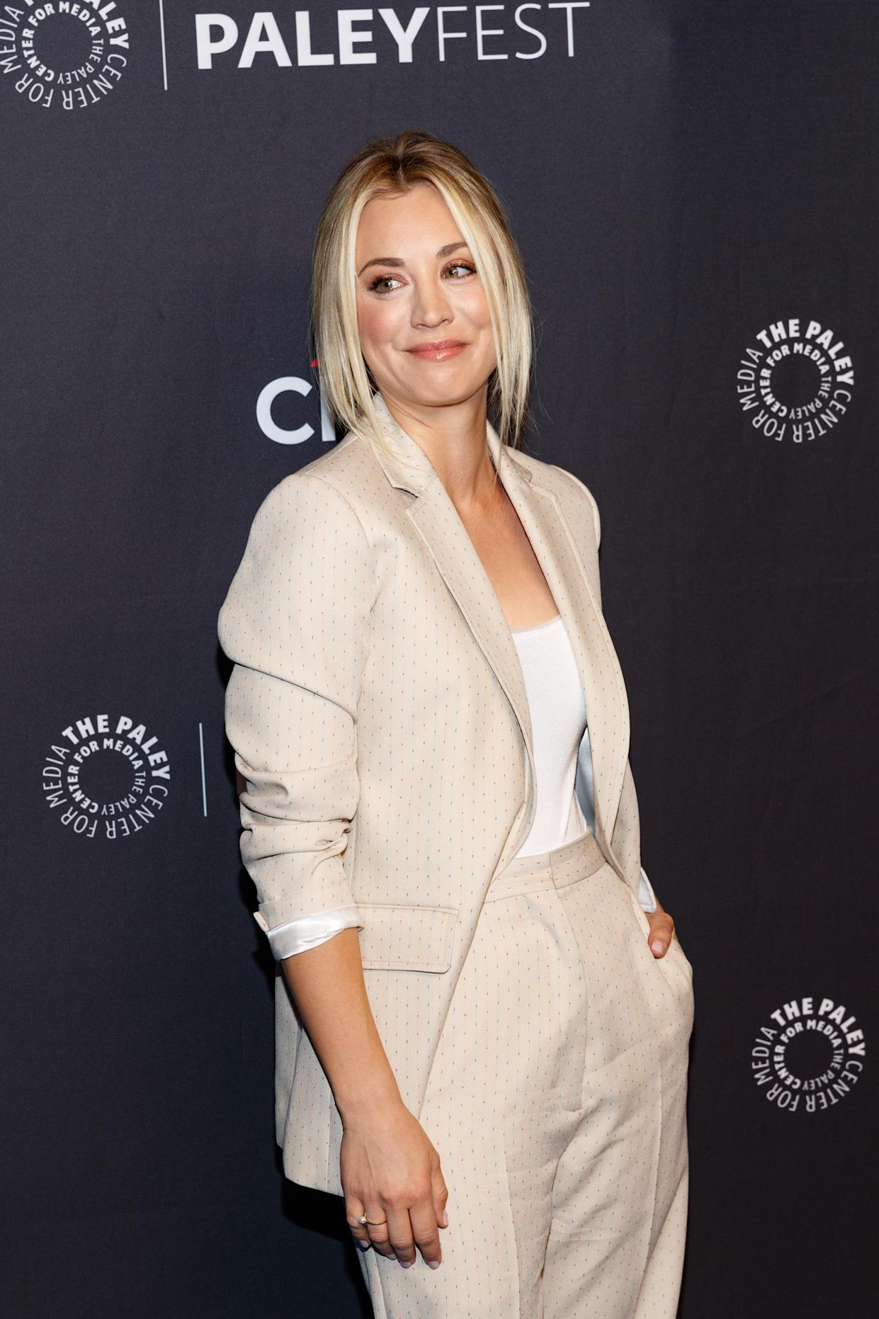 Kaley Cuoco suited up for PaleyFest. (Photo: Christopher Polk/Getty Images)