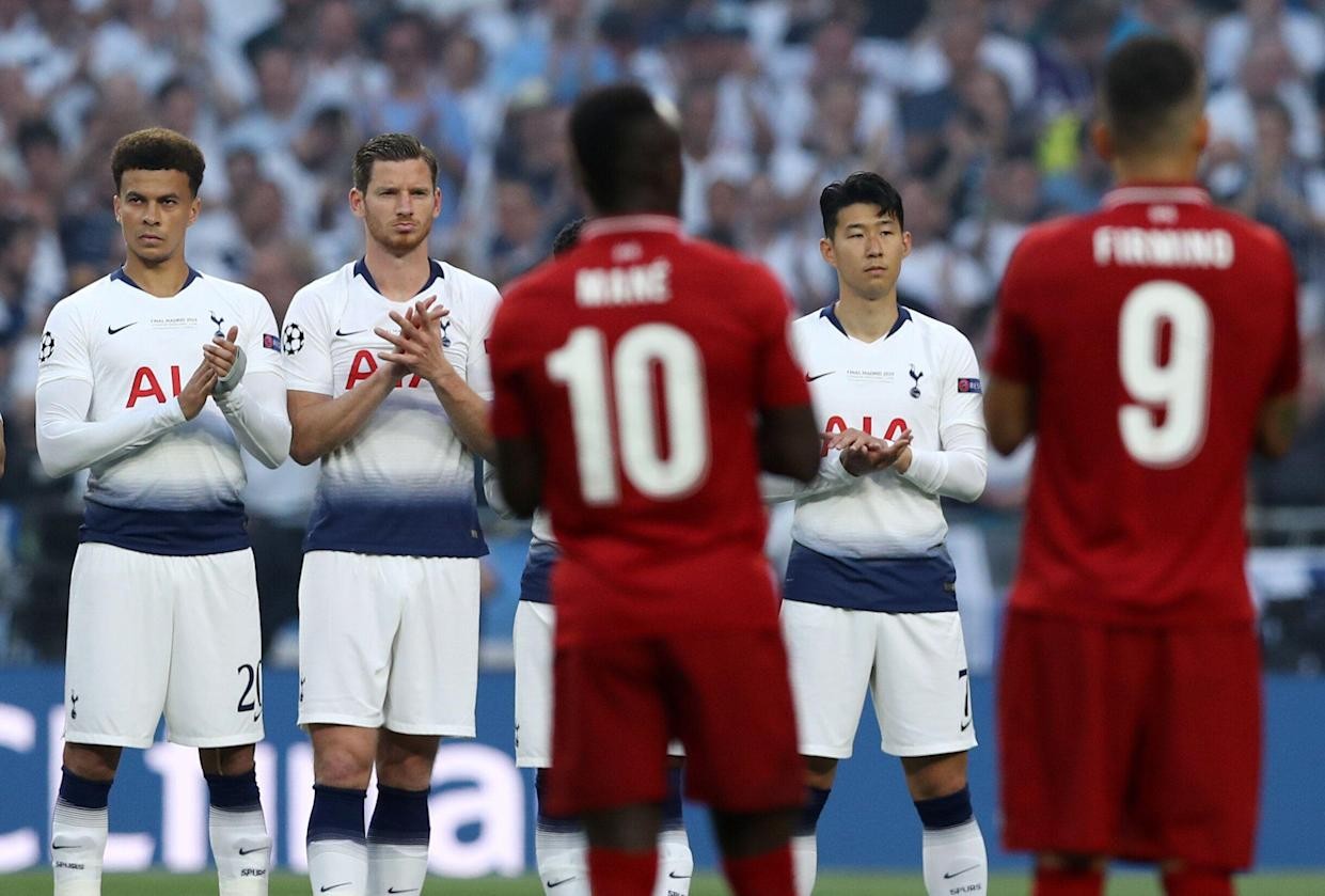 Tottenham and Liverpool observe a minute's silence in memory of Jose Antonio Reyes former Sevilla player during the UEFA Champions League Final Tottenham Hotspur Fc v Liverpool Fc at the Wanda Metropolitano Stadium in Madrid, Spain on June 1, 2019  (Photo by Matteo Ciambelli/NurPhoto via Getty Images)