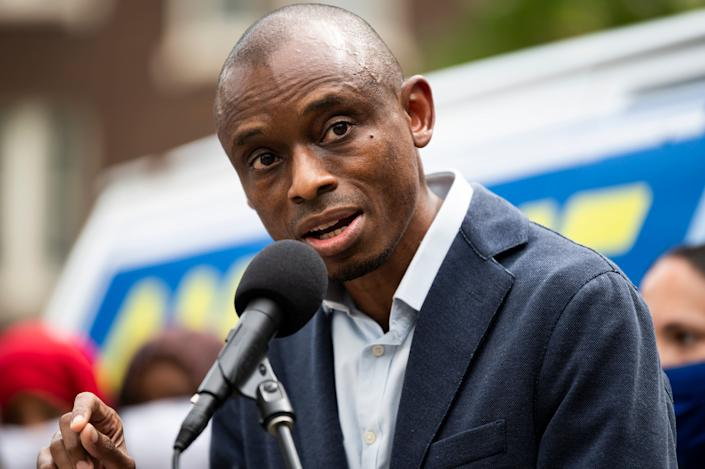 """Antone Melton-Meaux, an attorney, enjoyed the support of many critics of Rep. Ilhan Omar's leftist foreign policy views. His pitch was local, though, promising to """"focus on the 5th."""" (Photo: Stephen Maturen /Getty Images)"""