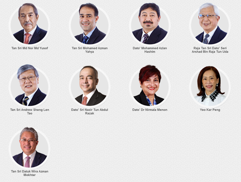 Khazanah's website still lists the above as board members. — Picture via Khazanah