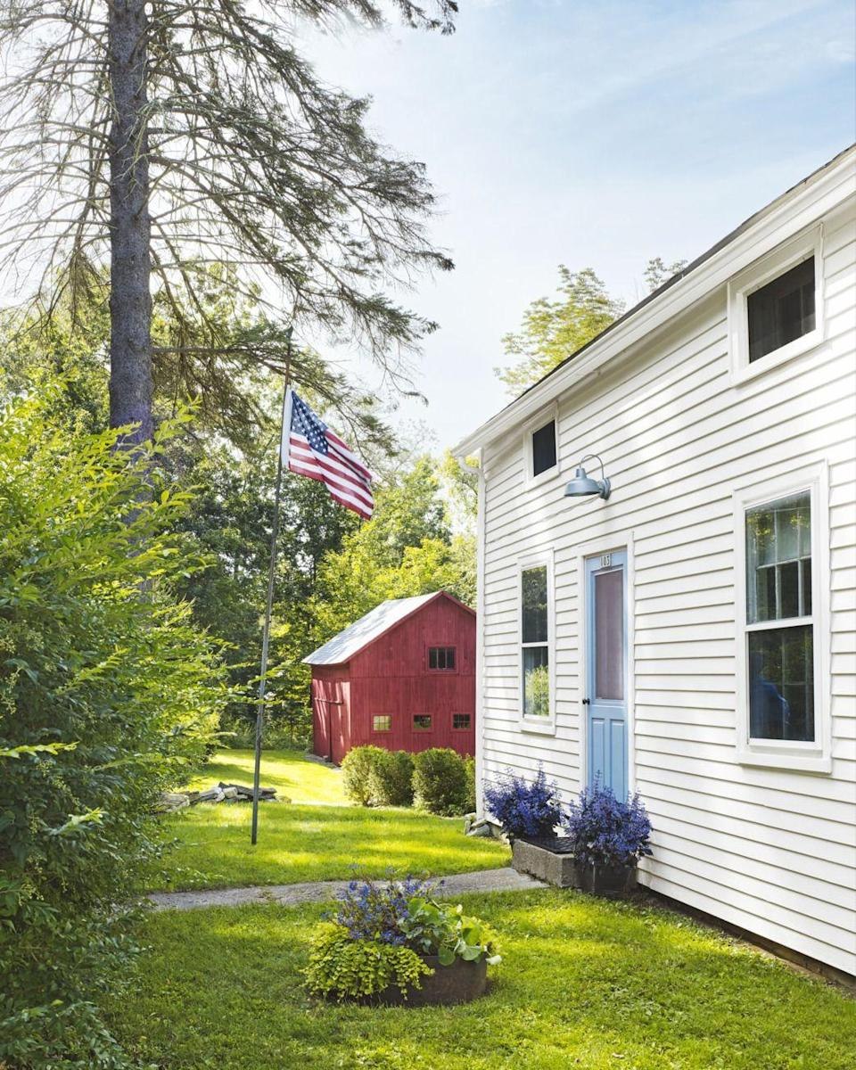 """<p>For a charming addition to a farmhouse, this soft blue is a perfect choice, especially next to an old-school red barn.</p><p><a class=""""link rapid-noclick-resp"""" href=""""https://www.sherwin-williams.com/homeowners/color/find-and-explore-colors/paint-colors-by-family/SW6508-secure-blue"""" rel=""""nofollow noopener"""" target=""""_blank"""" data-ylk=""""slk:SHOP SECURE BLUE BY SHERWIN WILLIAMS"""">SHOP SECURE BLUE BY SHERWIN WILLIAMS</a></p>"""