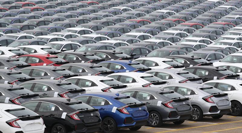 File photo dated 11/01/19 of Honda cars lined up at Southampton Docks. The number of new cars sold in the UK in March fell by 44% compared with last year, industry figures show.
