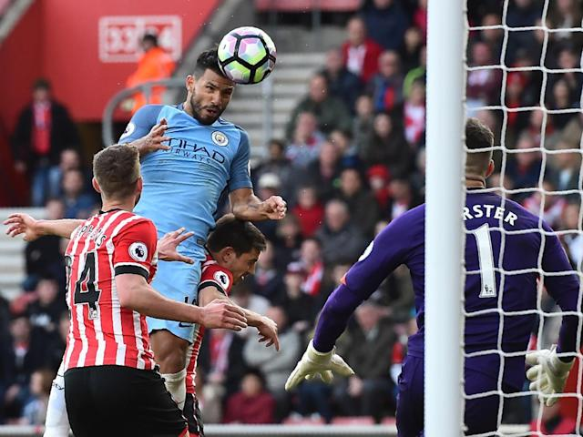 Aguero rose to nod De Bruyne's cross past Forster (Getty)