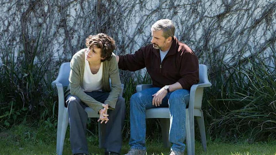 Timothee Chalamet and Steve Carell in Beautiful Boy
