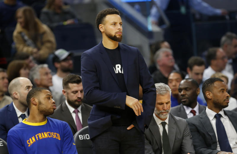 SAN FRANCISCO, CA: DECEMBER 23: Golden State Warriors' Stephen Curry watches from the bench in the fourth quarter of their NBA game against the Minnesota Timberwolves at the Chase Center in San Francisco, Calif., on Monday, Dec. 23, 2019. (Jane Tyska/Digital First Media/The East Bay Times via Getty Images)