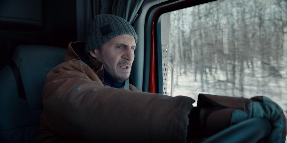 """Liam Neeson plays a trucker called into emergency duty to rescue trapped workers after a remote Canadian diamond mine collapses in """"The Ice Road."""""""