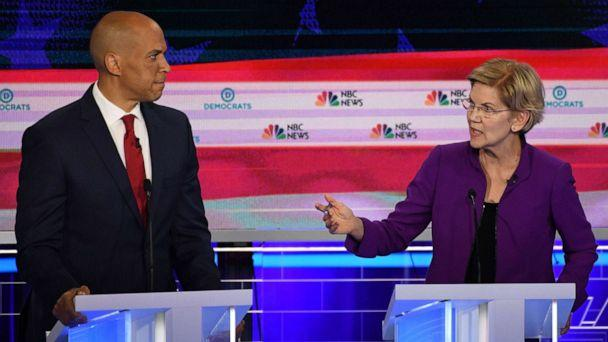PHOTO: Cory Booker and Elizabeth Warren participate in the first Democratic primary debate hosted by NBC News at the Adrienne Arsht Center for the Performing Arts in Miami, Florida, June 26, 2019. (Jim Watson/AFP/Getty Images)