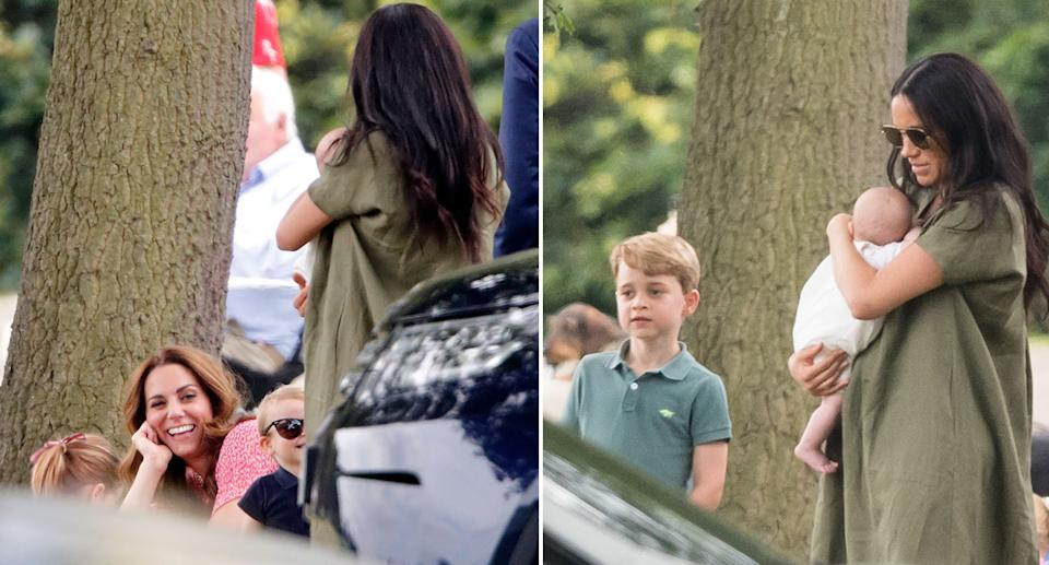 Kate, George, Charlotte and Louis watched the polo match with Meghan and baby Archie. [Photos: Getty]
