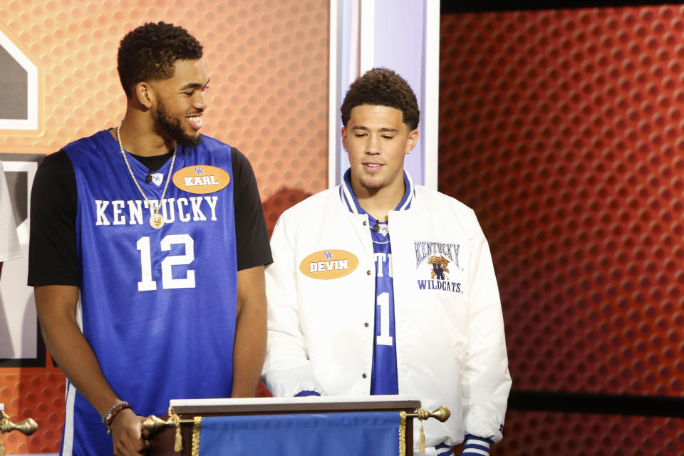 Karl-Anthony Towns and Devin Booker played together as college freshmen. (Randy Holmes/Walt Disney Television via Getty Images)
