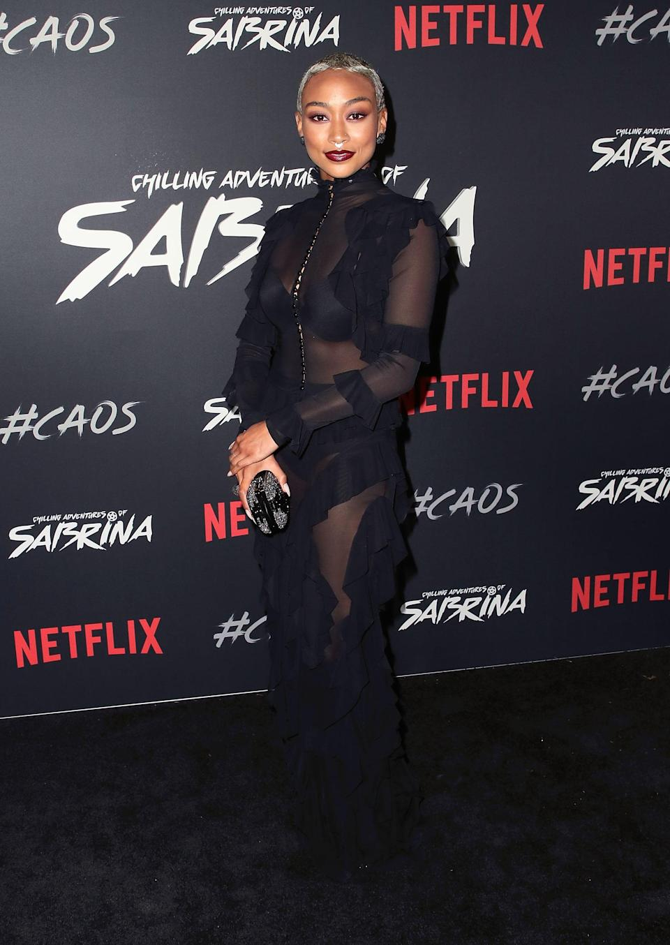 """<p>Tati is best known for playing <a href=""""https://www.popsugar.com/entertainment/Who-Plays-Prudence-Chilling-Adventures-Sabrina-45431980"""" class=""""link rapid-noclick-resp"""" rel=""""nofollow noopener"""" target=""""_blank"""" data-ylk=""""slk:Prudence on Netflix's Chilling Adventures of Sabrina"""">Prudence on Netflix's <b>Chilling Adventures of Sabrina</b></a>, but she's also had roles on Disney's <b>K.C. Undercover</b>, <b>The 100</b>, and <b>The Owl House</b>. When asked how she brings variation to her characters, Tati told <b>Wonderland</b> that she looks for """"points of relativity to understand the character better."""" She says this method allows her to """"act out nuanced characters naturally.""""</p>"""