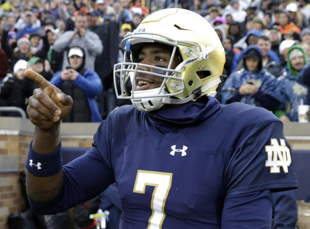 Notre Dame is up to No. 3 in the AP poll. (AP Photo/Nam Y. Huh)