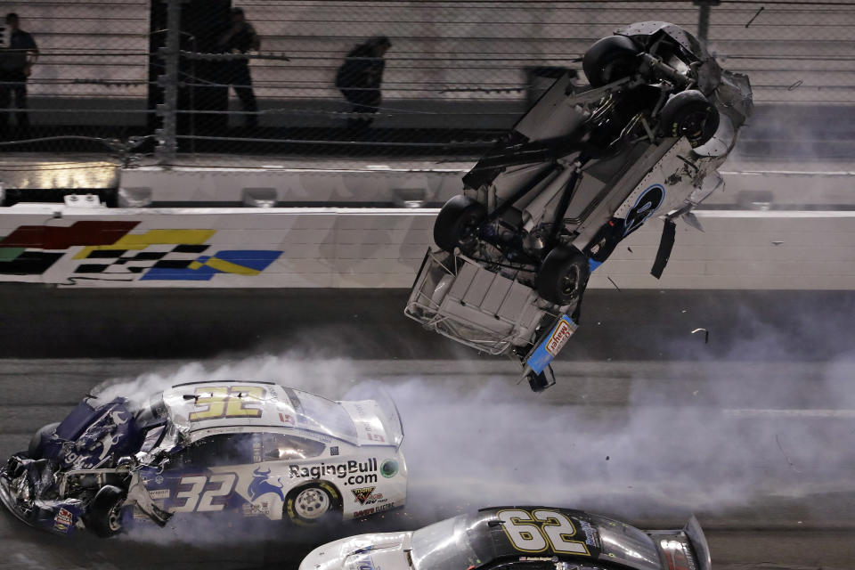 Ryan Newman's car flipped through the air after it was hit by Corey LaJoie's car in the final milliseconds of the Daytona 500. (AP Photo/Chris O'Meara)