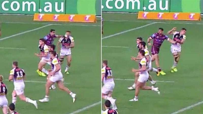 Close-up footage of Wright's hit and Watene-Zelezniak's reaction. Pic: Fox Sports