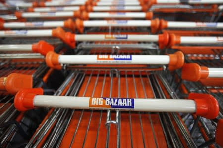 Shopping carts are parked at the Big Bazaar retail store in Mumbai