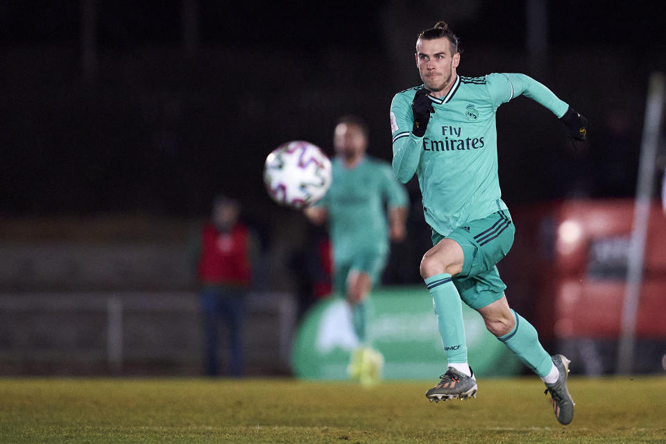 SALAMANCA, SPAIN - JANUARY 22: Gareth Bale of Real Madrid CF runs with the ball during the Copa del Rey round of 32 match between Unionistas CF and Real Madrid CF at stadium of Las Pistas on January 22, 2020 in Salamanca, Spain. (Photo by Quality Sport Images/Getty Images)