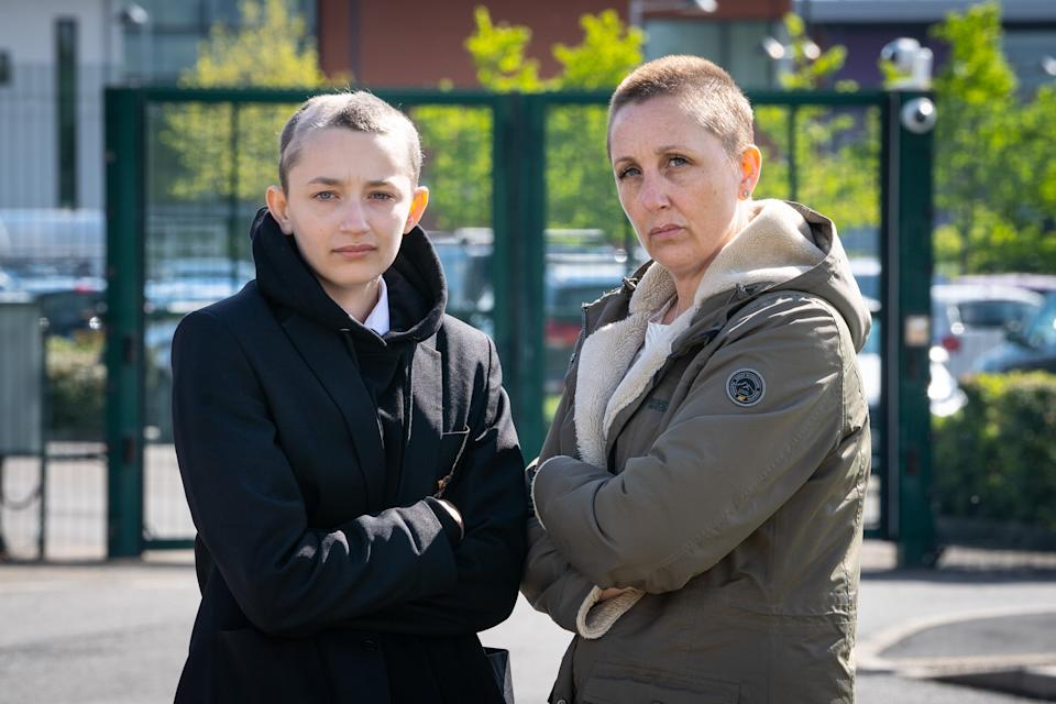 Ella Goodwin, 13 and Joanne Davies, 41, outside Heritage High School, Clowne, Derbyshire. (SWNS)