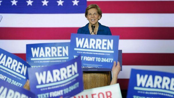 PHOTO: Democratic presidential candidate Sen. Elizabeth Warren speaks at her New Hampshire primary night rally in Manchester, N.H., Feb. 11, 2020. (Kevin Lamarque/Reuters)