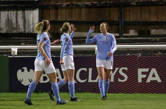 Scotland's Caroline Weir (right) has been in fine form for Manchester City in 2020-21 (Andrew Matthews/PA).