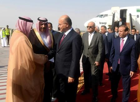 Iraq's President Barham Salih arrives to attend the meeting for the GCC, Arab and Islamic summits in Jeddah