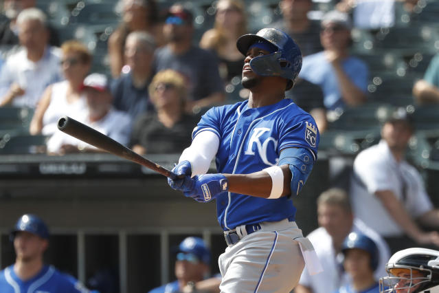 Kansas City Royals' Jorge Soler watches his home run off Chicago White Sox starting pitcher Lucas Giolito during the first inning of a baseball game Thursday, Sept. 12, 2019, in Chicago. (AP Photo/Charles Rex Arbogast)