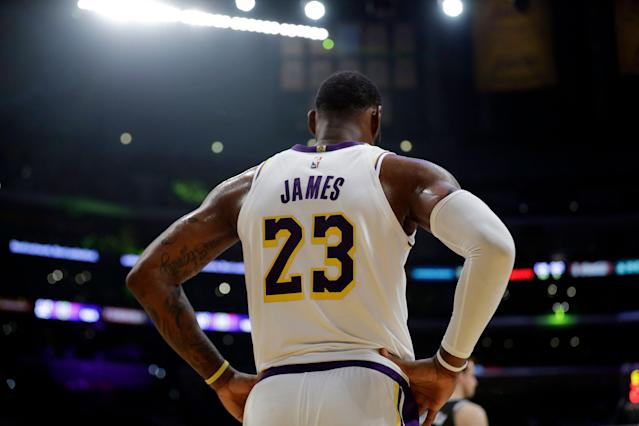 LeBron James had 29 points, 11 rebounds and 11 assists in the Lakers' win over the Kings. (AP Photo/Marcio Jose Sanchez)