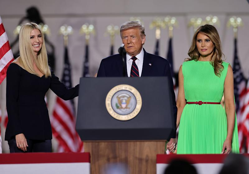 U.S. President Donald Trump looks on alongside to U.S. first lady Melania Trump and White House Senior Adviser Ivanka Trump before delivering his acceptance speech as the 2020 Republican presidential nominee during the final event of the Republican National Convention on the South Lawn of the White House in Washington, U.S., August 27, 2020. REUTERS/Carlos Barria (Photo: Carlos Barria / reuters)