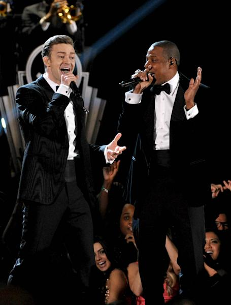 FILE - This Feb. 10, 2013 file photo shows recording artists Just Timberlake, left, and Jay-Z performing at the 55th annual Grammy Awards in Los Angeles. On Friday, Feb. 22, the pair announced their 12-city Legends of the Summer tour beginning July 17 in Toronto and ending Aug. 16 in Miami. (Photo by John Shearer/Invision/AP, file)