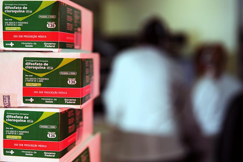 Boxes of chloroquine distributed by the Ministry of Health are seen at the pharmacy of the Nossa Senhora da Conceicao hospital, amid the coronavirus disease (COVID-19) outbreak in Porto Alegre, Brazil, May 26, 2020. REUTERS/Diego Vara