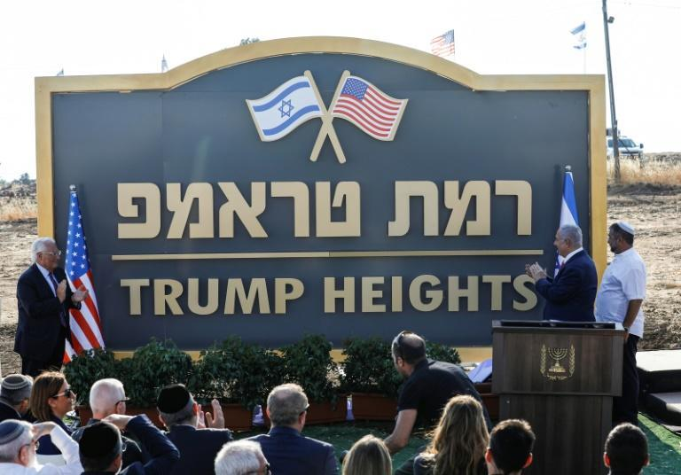 "Israeli Prime Minister Benjamin Netanyahu and US Ambassador to Israel David Friedman attended a ceremony to unveil the ""Trump Heights"" sign in June 2019"