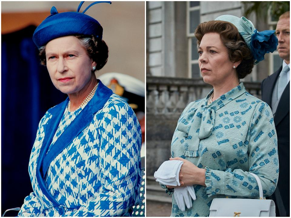 <p>Queen Elizabeth in 1986, Olivia Colman in 'The Crown' season four</p>Getty/Netflix