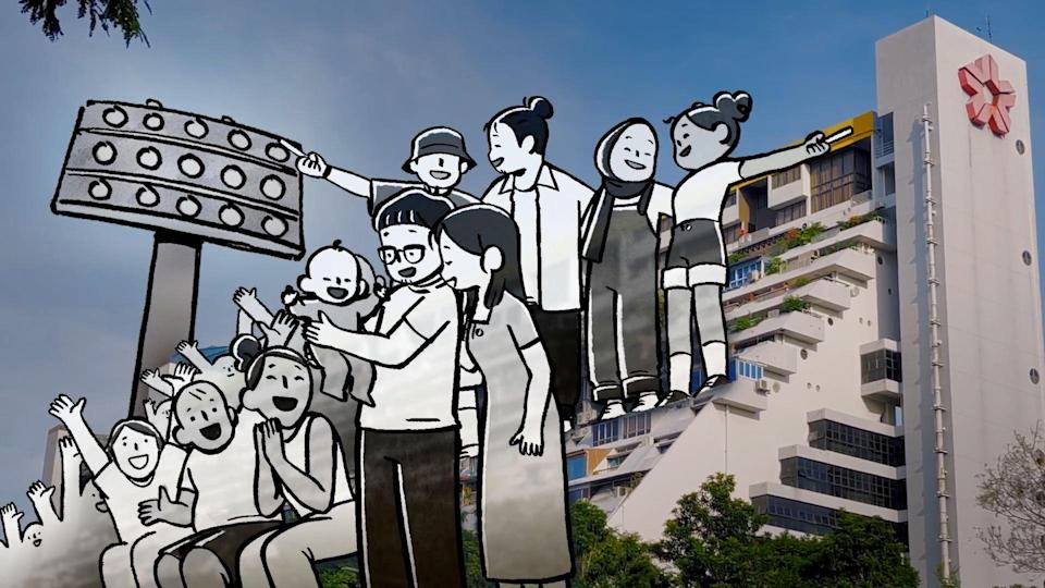 Animated Singaporeans do the Kallang Wave in the