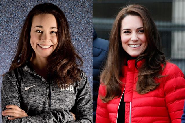 <p>American ski jumper and two-time Olympian Sarah Hendrickson shares similar features with Kate Middleton, the Duchess of Cambridge. They both share those famous brown locks and dimpled smile. </p>
