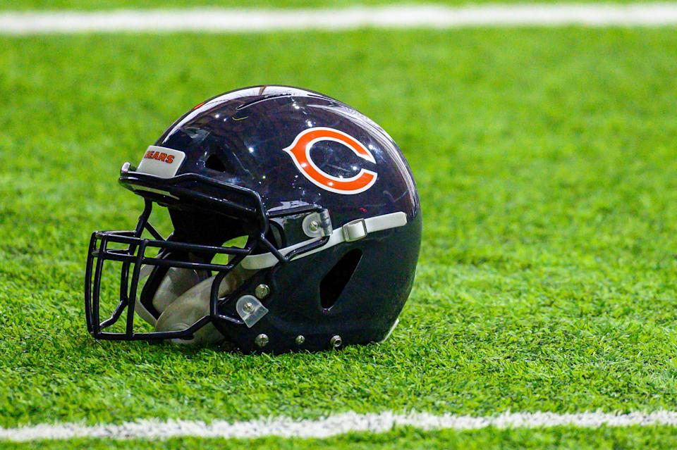 LAKE FOREST, IL - JUNE 12: A Chicago Bears helmet is seen during warm ups during the Chicago Bears Veteran Minicamp on June 12, 2019 at Halas Hall, in Lake Forest, IL. (Photo by Patrick Gorski/Icon Sportswire via Getty Images)