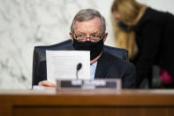 Chairman Dick Durbin, D-Ill., listens during a Senate Judiciary Committee hearing on voting rights on Capitol Hill in Washington, Tuesday, April 20, 2021. (Bill Clark/Pool via AP)