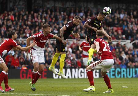 Britain Football Soccer - Middlesbrough v Manchester City - Premier League - The Riverside Stadium - 30/4/17 Manchester City's Gabriel Jesus scores their second goal  Action Images via Reuters / Lee Smith Livepic