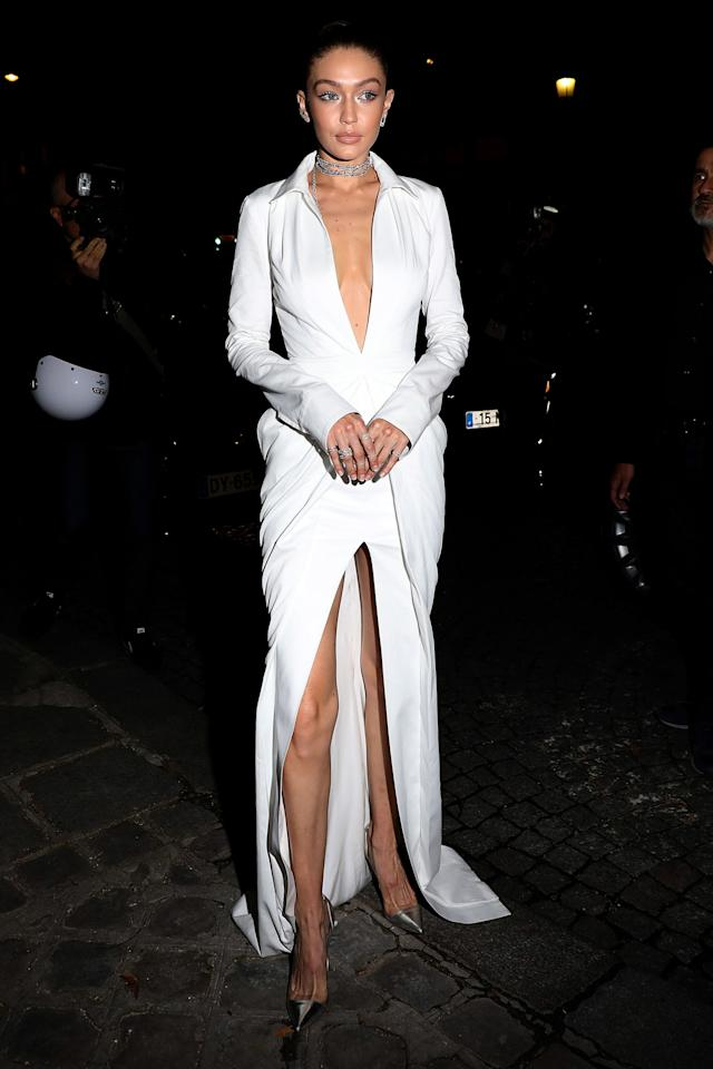 <p><strong>27 September</strong> Gigi Hadid wore an elegant Brandon Maxwell dress with pointed court shoes as she launched her Messika jewellery collection in Paris.</p>