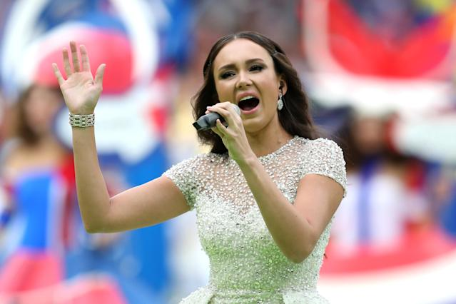 <p>Aida Garifullina performs during the opening ceremony prior to the 2018 FIFA World Cup Russia Group A match between Russia and Saudi Arabia at Luzhniki Stadium on June 14, 2018 in Moscow, Russia. (Photo by Catherine Ivill/Getty Images) </p>