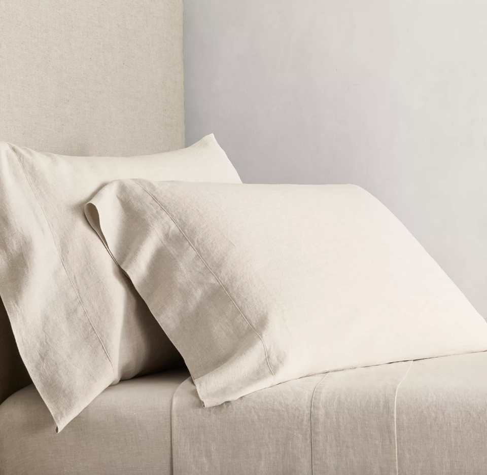 """<p><strong>Restoration Hardware</strong></p><p>https://rh.com/</p><p><strong>$249.00</strong></p><p><a href=""""https://rh.com/catalog/product/product.jsp?productId=prod690614&sale=false&src=rel"""" rel=""""nofollow noopener"""" target=""""_blank"""" data-ylk=""""slk:BUY NOW"""" class=""""link rapid-noclick-resp"""">BUY NOW</a></p><p>Restoration Hardware makes beautiful linen sheets woven from Belgian flax. They're also pre stonewashed and tumble-dried for that coveted vintage look and soft lived-in feel. They're midweight, so you can cuddle up and sleep in them all year long. </p>"""