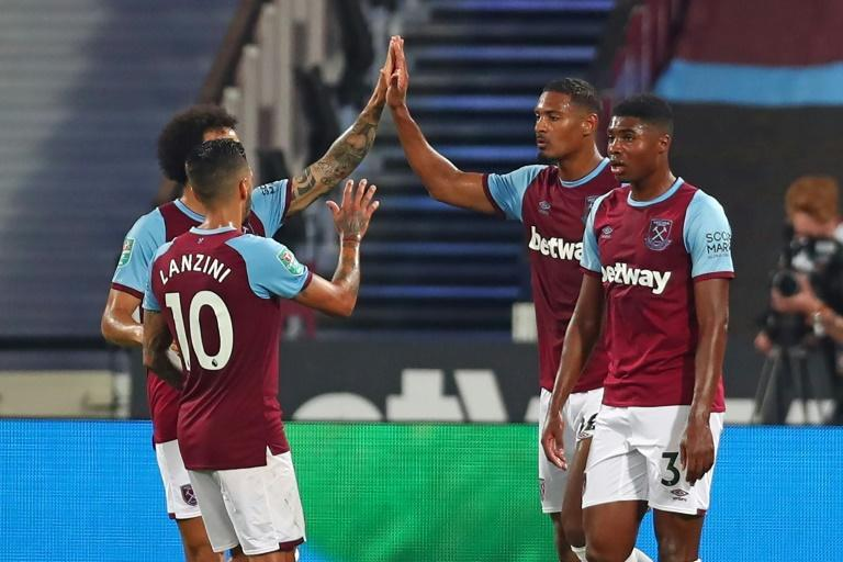 West Ham striker Sebastien Haller (2nd R) saw off Charlton in the League Cup