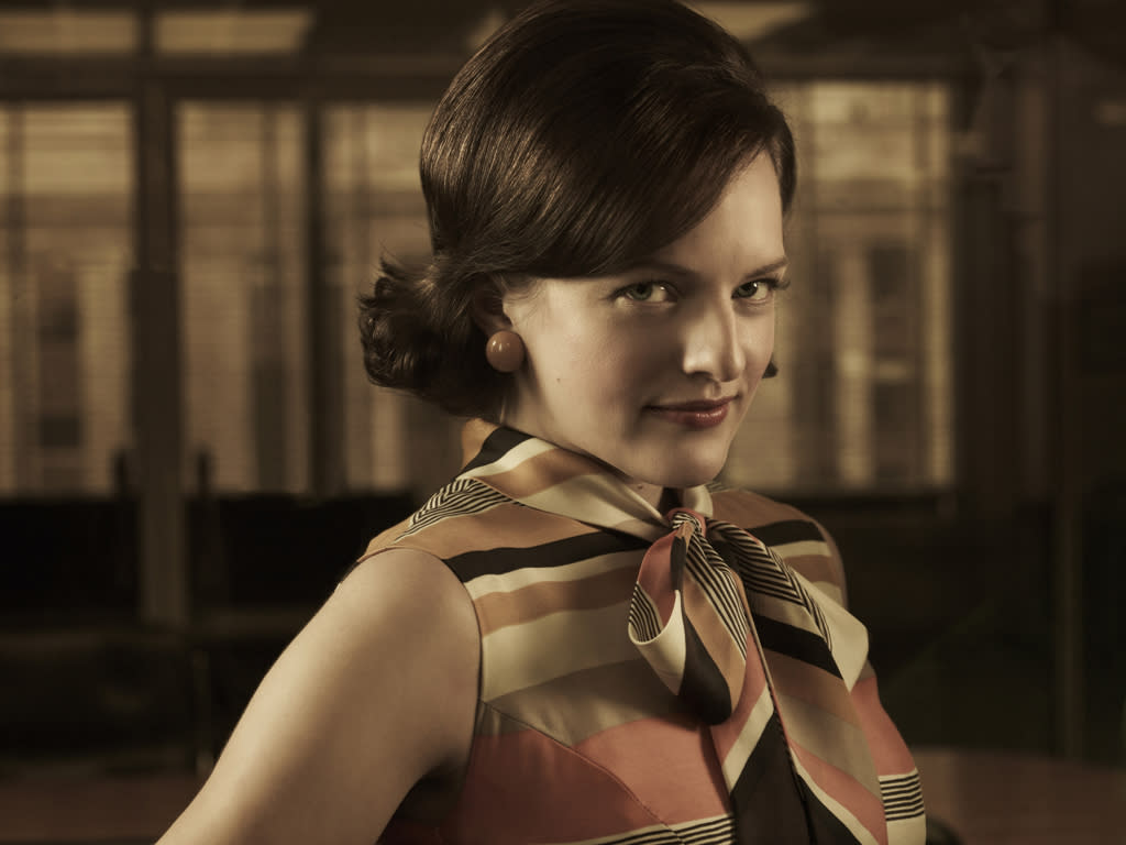 "Elisabeth Moss as Peggy Olson in ""<a target=""_blank"" href=""http://tv.yahoo.com/mad-men/show/39828"">Mad Men</a>."""