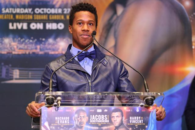 Patrick Day, shown here at an October 2018 press conference, died Wednesday as a result of injuries suffered from a knockout vs. Charles Conwell (not pictured) on Saturday. (Edward Diller/Getty Images)