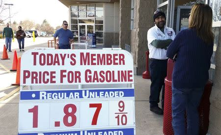Price sign outside the Costco in Westminster, Colorado shows gas selling for below $1.90 for the first time in years