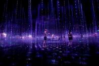 Demonstration of TikTok teamLab Reconnect, digital artwork combined with sauna, ahead of its opening to the public this month in Tokyo