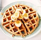 """<p>We realise that by calling these """"magic"""" waffles they better really deliver—and they do. The batter is basically eggs, mashed bananas, almond butter, and a few tablespoons of flour, so you won't feel like these are weighing you down at all.</p><p>Get the <a href=""""https://www.delish.com/uk/cooking/recipes/a34939745/low-carb-waffles-recipe/"""" rel=""""nofollow noopener"""" target=""""_blank"""" data-ylk=""""slk:Magic Low Carb Waffles"""" class=""""link rapid-noclick-resp"""">Magic Low Carb Waffles</a> recipe.</p>"""