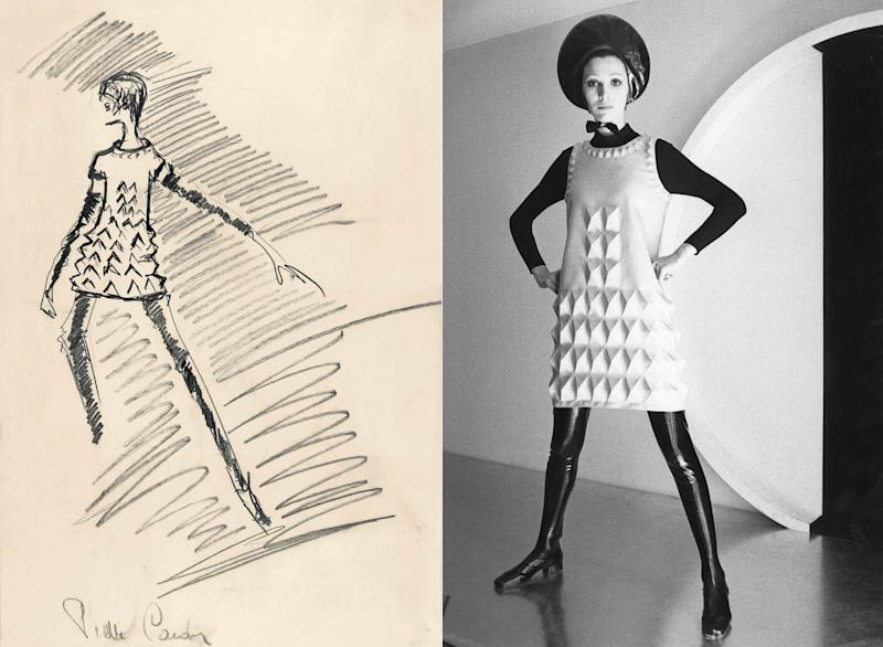 """Sketch for a """"Cardine"""" minidress, 1968, left, and the """"egg carton"""" dress realized. """"You can wash it, pack it—it never crushes, never loses its shape—and wear it straightaway,"""" Vogue noted approvingly."""