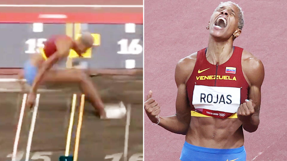 Yulimar Rojas, pictured here breaking the triple jump world record to win gold at the Olympics.