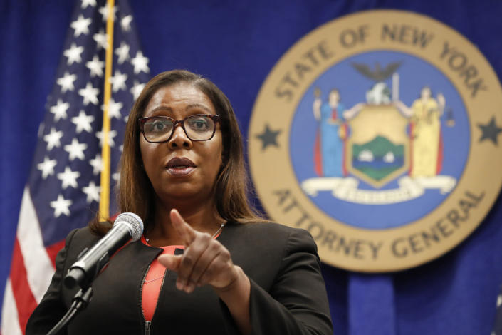 FILE - In this Aug. 6, 2020 file photo, New York State Attorney General Letitia James takes a question at a news conference in New York. New York's comptroller has asked the state attorney general's office to launch a criminal investigation into whether New York Gov. Andrew Cuomo used state resources to write and promote his book on leadership in the COVID-19 pandemic. On Monday, April 19, 2021 the state comptroller's office released a letter from earlier this month authorizing James to investigate whether the process of writing and promoting the book violated state laws. (AP Photo/Kathy Willens, File)