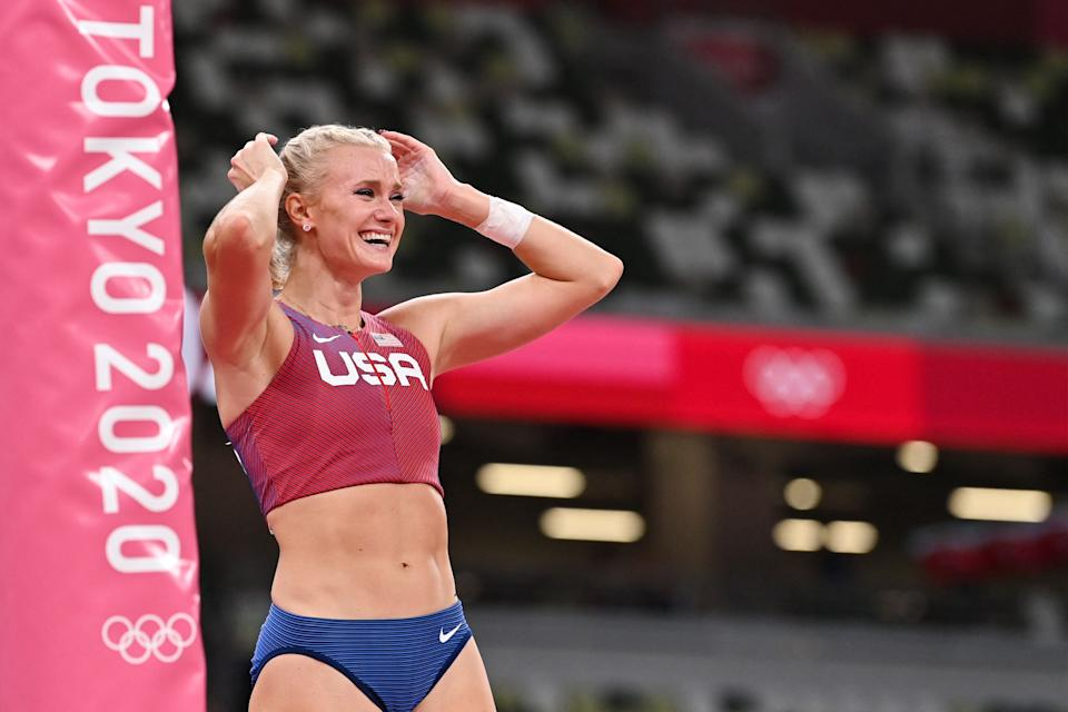Katie Nageotte was overcome with emotion after her wild year led to Olympic pole vault gold. (Photo by ANDREJ ISAKOVIC/AFP via Getty Images)