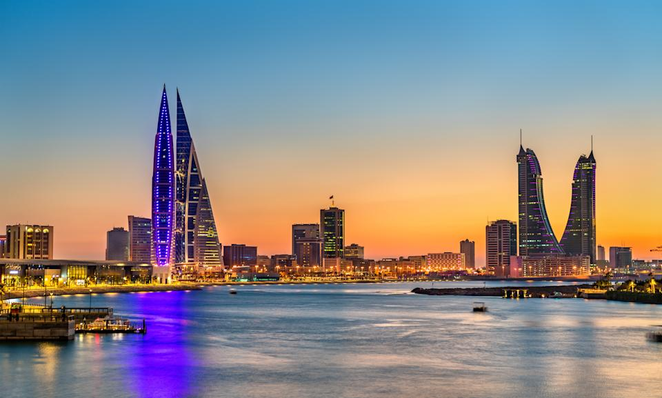 Skyline of Manama at sunset. The capital of Bahrain. Photo: Getty